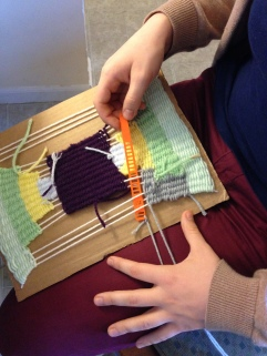 Using wefty needle to weave