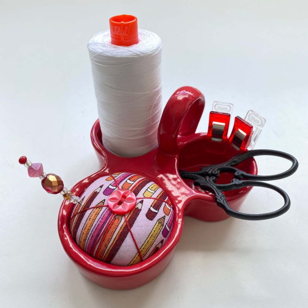 Pincushion Pal - Red base with Heather Givans Fabric & Aurifil thread spool